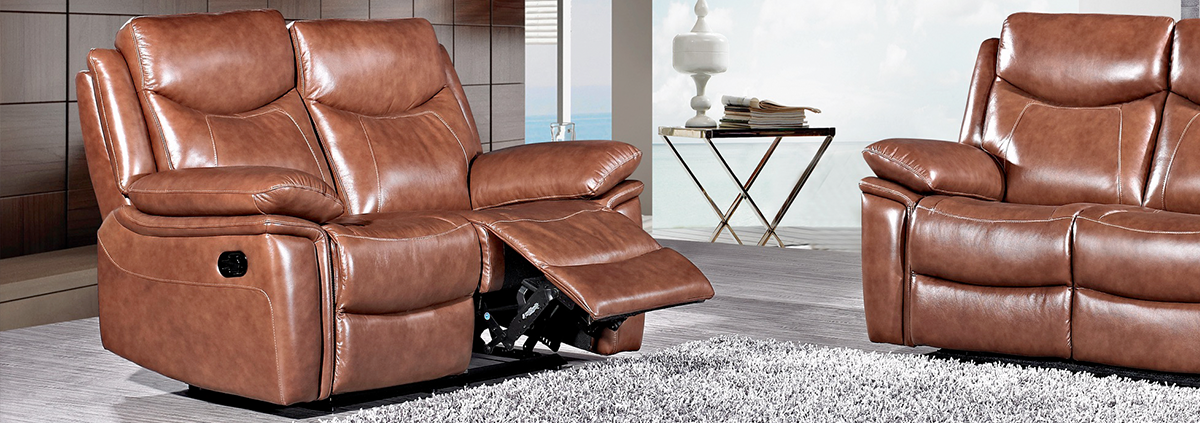 Leather 2 Seater Manual Reclining Sofas