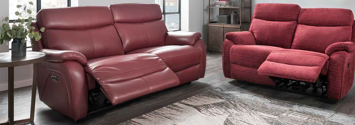 Leather 3 Seater Electric Reclining Sofas