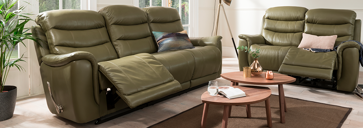 Leather 3 Seater Manual Reclining Sofas