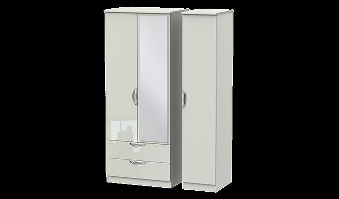 3 Door 2 Left Drawer Mirror Wardrobe