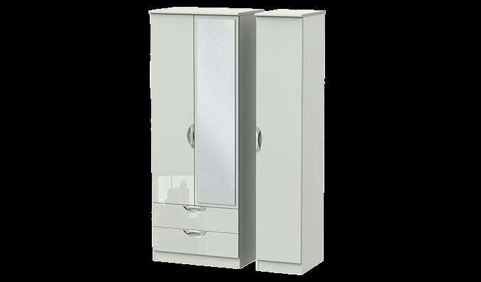 Tall 3 Door 2 Left Drawer Mirror Wardrobe