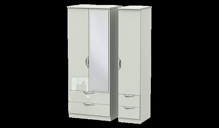 3 Door 4 Drawer Mirror Wardrobe
