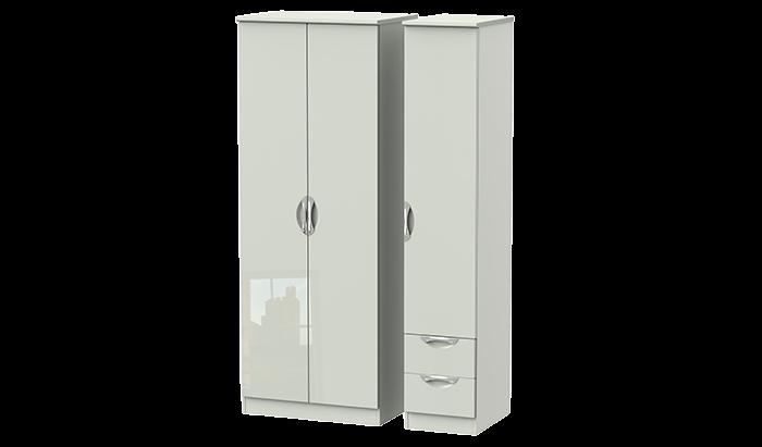 Tall 3 Door 2 Right Drawer Plain Wardrobe