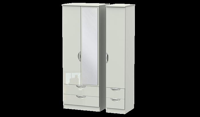 Tall 3 Door 4 Drawer Mirror Wardrobe