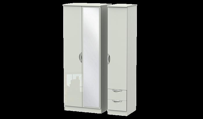 Tall 3 Door 2 Right Drawer Mirror Wardrobe