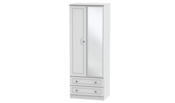 Tall 2 Door, 2 Drawer Wardrobe with Mirror