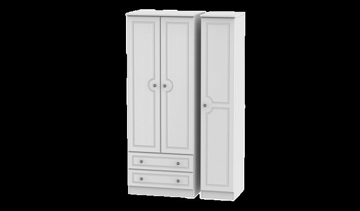 Tall 3 Door, 2 Left Drawer Wardrobe