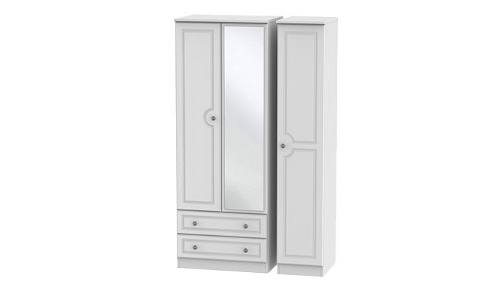 Tall 3 Door, 2 Left Drawer Wardrobe with Mirror