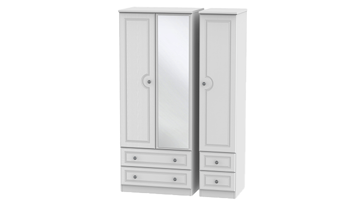 3 Door, 4 Drawer Wardrobe with Mirror