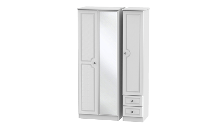 Tall 3 Door, 2 Right Drawer Wardrobe with Mirror