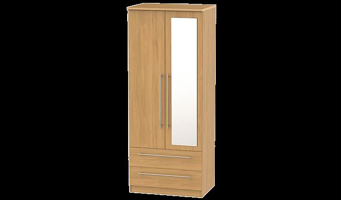 2 Door, 2 Drawer Wardrobe with Mirror