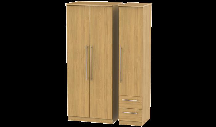 3 Door, 2 Right Drawer Wardrobe