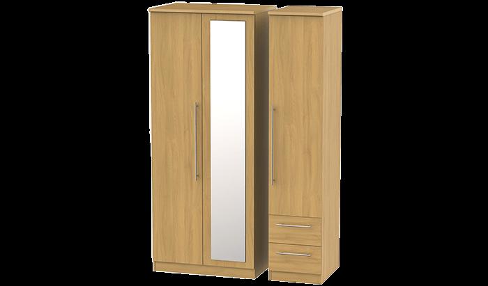 3 Door, 2 Right Drawer Wardrobe with Mirror