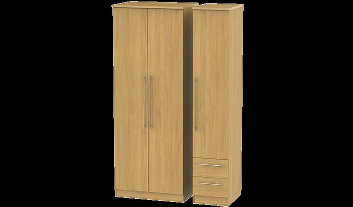 Tall 3 Door, 2 Right Drawer Wardrobe
