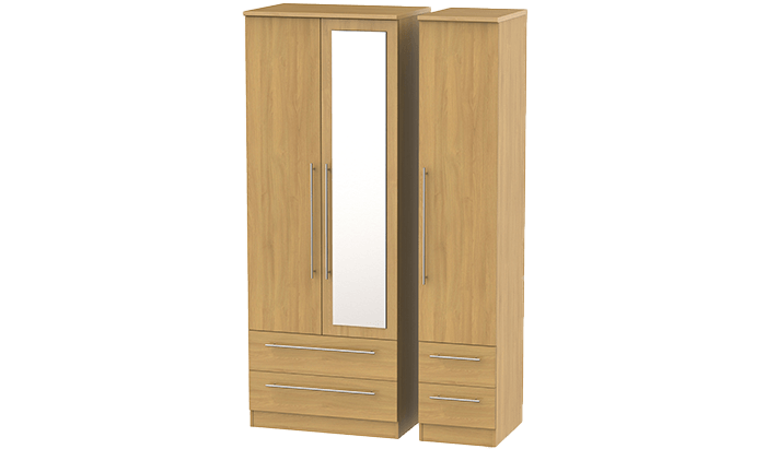Tall 3 Door, 4 Drawer Wardrobe with Mirror